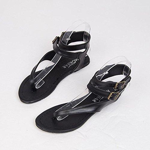 de de Sandalias Gladiador Y Moda Mujer Bohemia Playa Chanclas Verano Cuero Zapatillas Sandalias Las De Negro Zapatos Bailarinas Cordones Planas ASHOP Elegante y Cómodo v0wqUdv