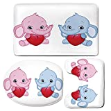 3 Piece Bath Mat Rug Set,Elephant-Nursery,Bathroom Non-Slip Floor Mat,Pink-and-Blue-Kid-Infant-Elephants-Holding-Hearts-Smiling-Twins-Decorative,Pedestal Rug + Lid Toilet Cover + Bath Mat,Pale-Pink-Bl