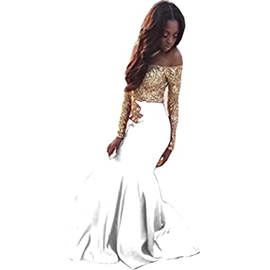Ladsen Gold Lace Appplique Prom Dresses Long Sleeves Prom Ball Gown L295 White US22 Plus Size