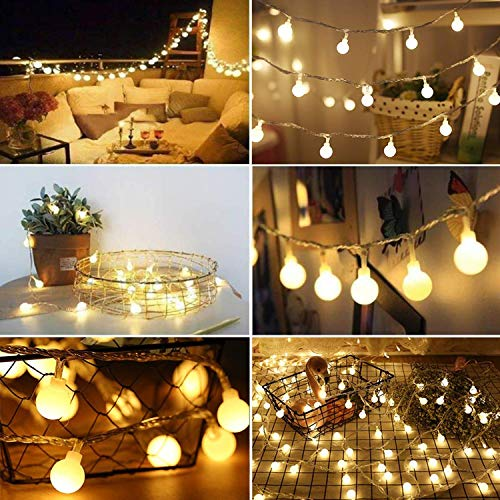 Fairy Festoon Lights with Remote Control 100 LEDs Warm White Globe String Lights Battery Powered 10M 8 Modes Waterproof Decorative Lights for Indoor Outdoor Party Home Garden Patio Bar Restaurant