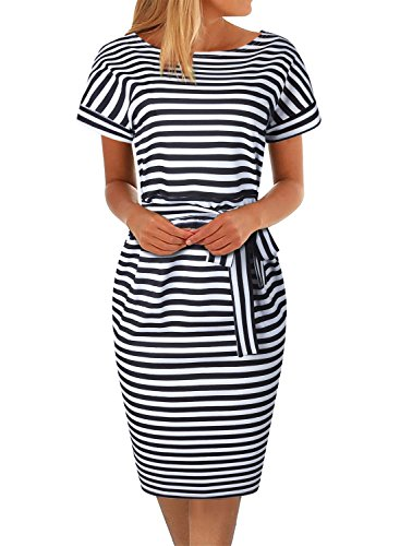 Belted Striped Sweater - Women's Pencil Dress Knee Length Business Casual Belted Elegant Party Dresses with Pockets (S, BK366-Striped 01)