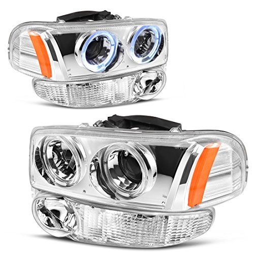 For 00-06 GMC Sierra/Yukon Denali Halo Projector Headlight Assembly w/LED + Parking Bumper Lamp, Chrome Housing Clear Lens, One-Year Limited Warranty (Driver and Passenger Side) - Gmc Sierra Halo Projector