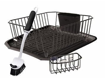 Delightful Rubbermaid Antimicrobial Sink Dish Rack Drainer Set, Black, 4 Piece Set  (FG1F91MABLA