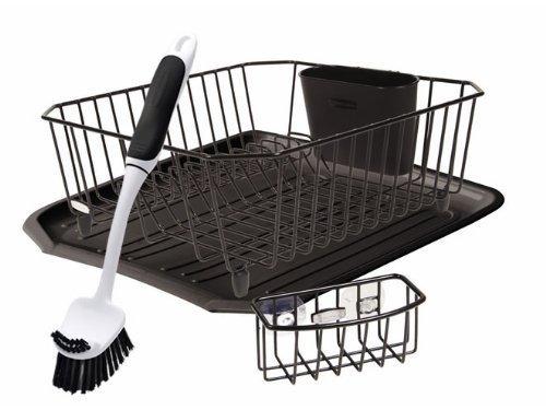Rubbermaid Antimicrobial Sink Dish Drainer Set, Black, 4-Piece Set (FG1F91MABLA)