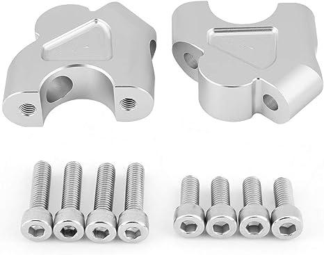 bulloni argento KIMISS 2 pezzi moto manubrio staffa riser 4 viti per adattatore moto manubrio altezza manubri maniglie leve con 8
