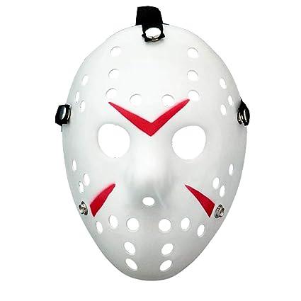 Amycute Halloween Máscara de Jason de Blanco y Rojo, Cosplay ...