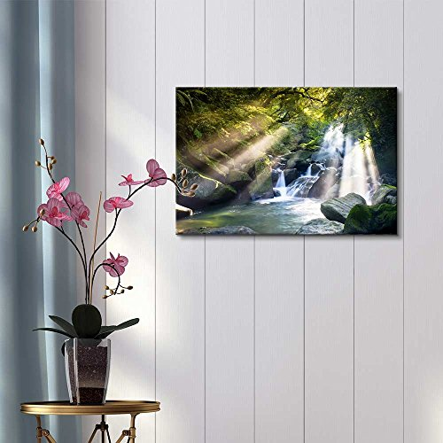 Mountain Stream in Forest with Sun Beam Passing Through Wall Decor