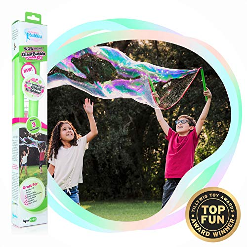 WOWMAZING Giant Bubble Powder Kit: Include Large Bubble Wand and 3 Packet of Big Bubble Powder (Makes 3 Gallons) | Outdoor Toy for Kids, Boys, Girls | Powder Made in USA
