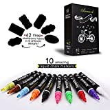 Airmark Liquid Chalk Markers Washable Pens,10 Colored Erasable with 42 Reusable Chalkboard Labels,Neon Plus Earth Colors 6mm Reversible Tip
