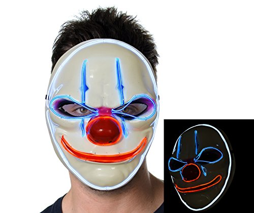 Light up Clown Mask w/Creepy Smile Glowing for Halloween Rave Costume (Creepy Smile Mask)