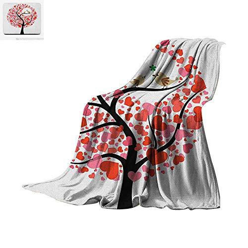 Animal Lightweight Blanket Birds in Tree Flirting Greeting in The Nature Romance Relationship Season Print Velvet Plush Throw Blanket 60