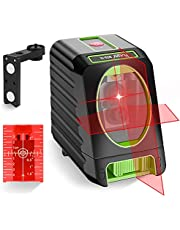 Huepar Laser Level Self-Leveling100ft/30m Outdoor Horizontal and Vertical Cross Line Laser, Level with Magnetic Mount Base, Carrying Pouch, Battery -M-BOX-1R