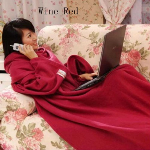 Red omyBigDeal Snuggie Fleece Warm Blanket With Sleeves Cuff Option