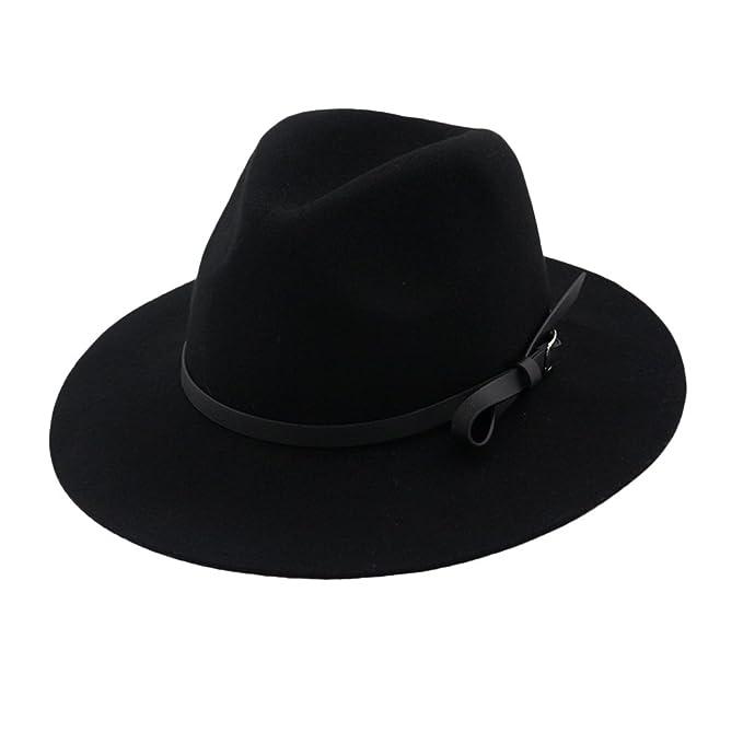 b5bcd0219fd Zhhlinyuan Womens Vintage Bowler Wide Brim Panama Jazz Hat Wool Felt Fedora  Hats at Amazon Women's Clothing store: