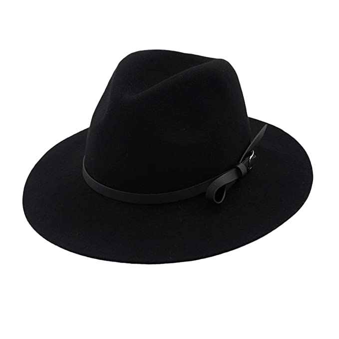 782fc732461d6 Zhuhaitf Ladies Vintage Wide Brim Bowler Hat Wool Felt Fedora Hats Jazz Cap  at Amazon Women s Clothing store
