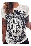 Haircloud Women's Loose Short Sleeve Graphic Print Tee Shirt Tops, Black, Large