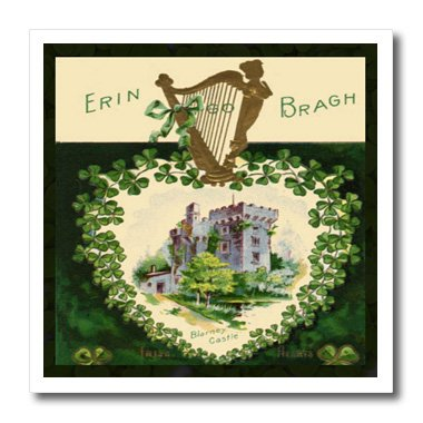 3dRose Erin Go Braugh Blarney Castle (Vintage)-Iron on Heat Transfer, 10 by 10