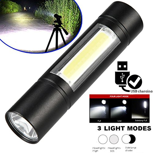 Price comparison product image Boofab Mini USB Torch Rechargeable Pocket Flashlight,  Cree Q5 LED Super Bright 4X Zoomable Aluminum Alloy Portable for Home Factory School Camping Hiking Caving Indoor Outdoor
