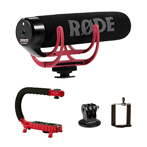Stabilizing Camera Grip Handle (Red) + Rode VideoMic GO On-Camera Microphone for Canon Nikon Panasonic DSLR Mirrorless Camera
