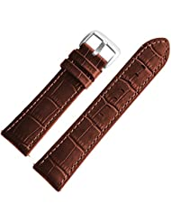 22mm Genuine Brown Leather Watch Bands, Alligator Grain With Silicone Backing for men