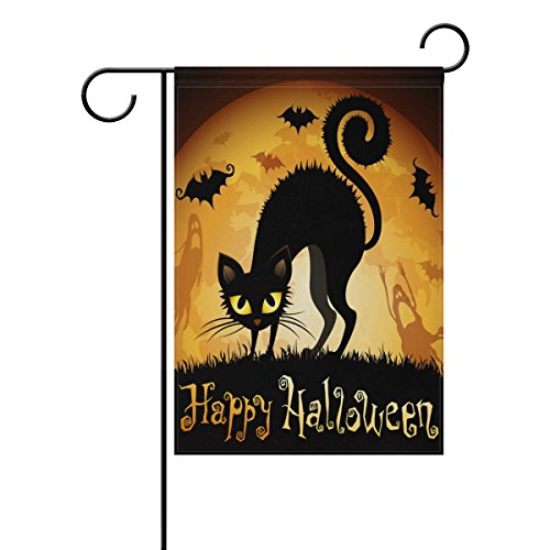 ALAZA Double Sided Halloween with Black Cat on Moon Polyester Garden Flag Banner 12 x 18 Inch for Outdoor Home Garden Flower Pot Decor -