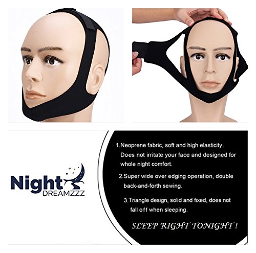 Premium Upgraded Anti Snoring Chin Strap and Nose Vents with Free Bonus Silk Eye Mask - The Ultimate Anti Snore Solution for Men, Women & Kids- Adjustable Sleep Aid Bundle by Night Dreamzzz (Image #5)