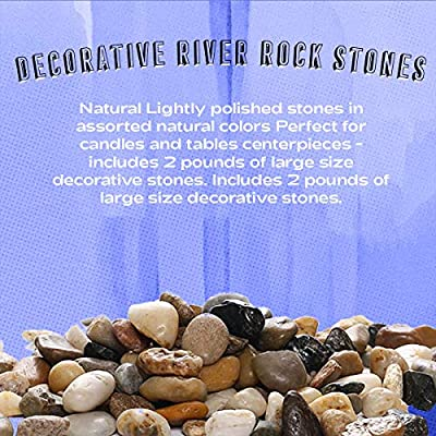 Katzco 2 Pounds Small Decorative River Rock Stones - Natural Polished Mixed Color Stones -Use in Glassware, Like Vases, Aquariums and Terrariums to Enhance The Appearance : Garden & Outdoor