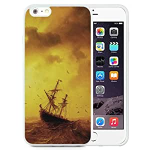 Beautiful Unique Designed iPhone 6 Plus 5.5 Inch Phone Case With Sea Storm Waves Old Ship_White Phone Case