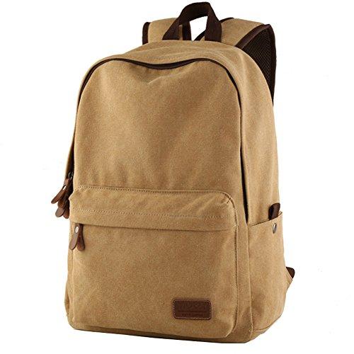 MiCoolker Unisex Casual Rucksack Satchel Bookbag, Classic Canvas Shouldes Backpack for Laptop, Outdoor Travel Bag, Hiking Daypacks Khaki