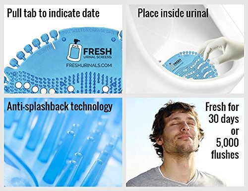 Urinal Screen Deodorizer (10 PACK) - Scent Lasts for Up to 5000 Flushes – Anti-Splash & Odor Neutralizer – Ideal for Bathrooms, Restrooms, Office, Restaurants, Schools – Ocean Mist Fragrance by Fresh Urinal Screens (Image #5)
