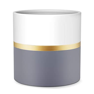 8'' Plant Pot by HOMENOTE, Modern Large Planter with Drainage Plug - Gold and Grey Detailing - Perfect Fits Mid Century Plant Stand