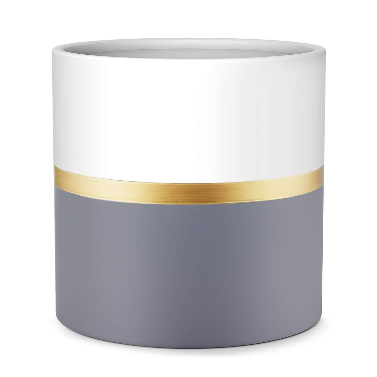 10'' Plant Pot by HOMENOTE, Modern Large Planter with Drainage Plug - Gold and Grey Detailing - Perfect Fits Mid Century Plant Stand