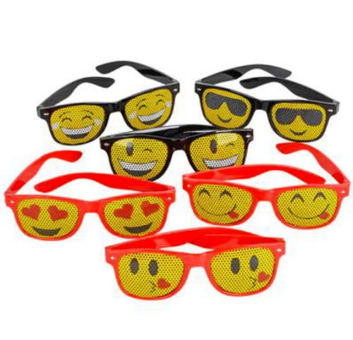 6 MESH EMOJI SUNGLASSES PARTY FAVOR GOODY BAGS CARNIVAL PRIZE HOTTEST NEW - Emoji Sunglasses