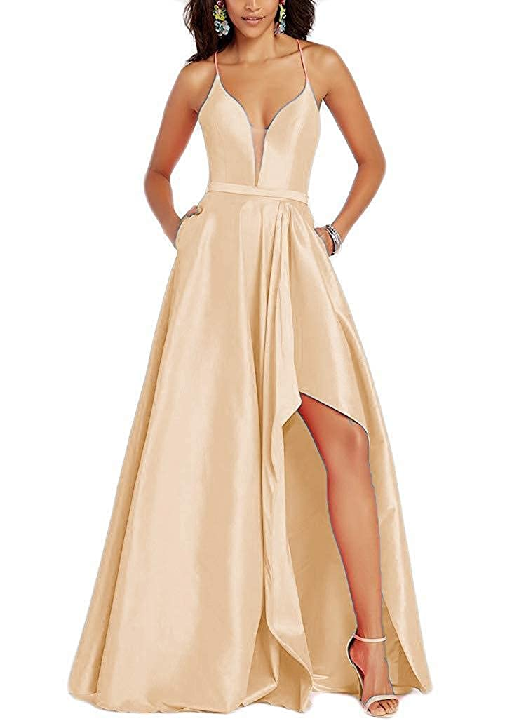 Champagne Staypretty Halter Prom Gowns Satin V NCK High Low Evening Party Dresses with Pockets