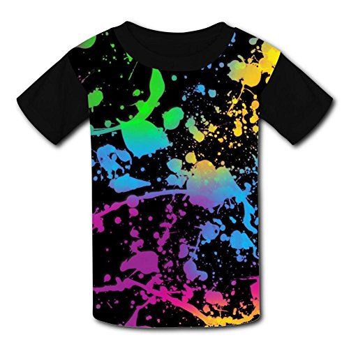 Glow in Dark Paint Splatter Youth/Kid's Casual T-Shirt 3D Print Short Sleeve -