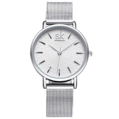 SK Designer Watches for Women for Sale Sliver Stainless Steel or Leather Watch Band Analog Quartz Wristwatch (Or Is Women Watch)