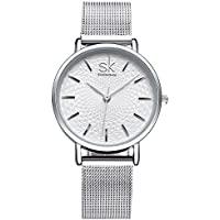SK Designer Watches for Women for Sale Sliver Stainless Steel or Leather Watch Band Analog Quartz Wristwatch (silver)