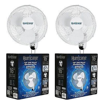 "Hurricane Fans Classic 16"" Wall Mount Oscillating Fan, 2 Count"