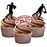 Fathers Day Rugby Cake Decorations - Edible Stand-up Cup Cake Toppers by AKGifts