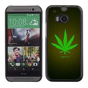 TopCaseStore / la caja del caucho duro de la cubierta de protección de la piel - Legalize Cannabis Hemp Weed Green Herbal - HTC One M8
