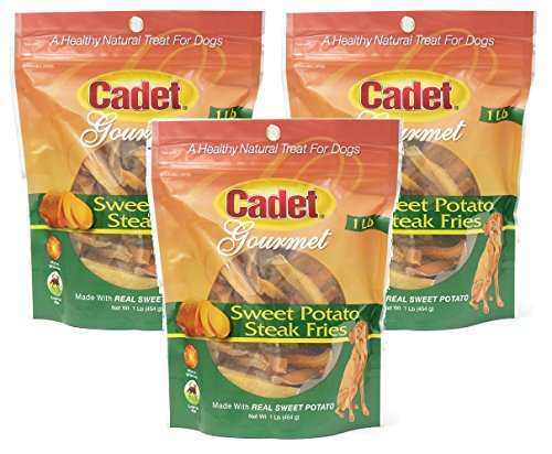 (3 Pack) Cadet Sweet Potato Dog Treat Steak Fries; 1 Lb.