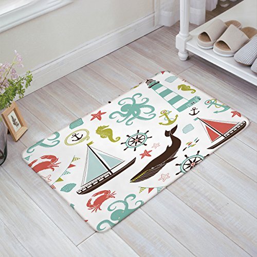 Sea Creatures Rope And Anchor,Seahorse Whale Shark Octopus Coral Crab Marine Lighthouse Ocean Theme Home Decor Nautical Coastal Doormat Door Mat Rug Outdoor/Indoor ,for Home/Office/Bedroom 18x30inch