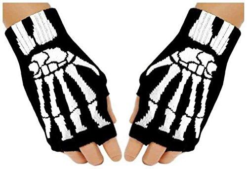 Handschuhe Fingerlose Skelett Black Handstulpen Out Knochen Gothic ...