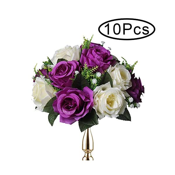 Sziqiqi Pack of 10 Fake Flower Bouquet, Plastic Roses with Base, Suit for Wedding/Party Centerpiece Road Lead Flower Rack Decorations, 10 Pieces