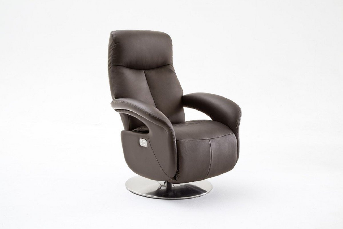 Dreams4Home Leder Relax Sessel 'Rahmon' - Relaxsessel, Sessel, Relaxer, TV-Sessel, elektronisch verstellbar, mit Kippfunktion, mit Fußstütze, in schwarz oder braun, Gestell in Metall, belastbar bis 130 kg, Rindsleder, Farbe:Schwarz