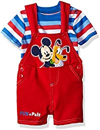 Disney Baby-Boys  2 Piece Mickey Mouse Shortall Set