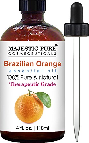 Majestic Pure Brazilian Orange Essential Oil, 100% Pure and Natural with Therapeutic Grade, Premium Quality Brazilian Orange Oil, 4 fl. oz ()