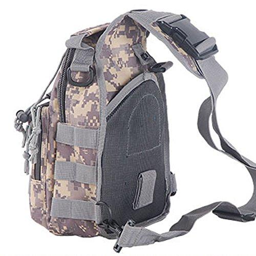 aiyuda táctico militar MOLLE 600d bandolera Sling Crossbody pecho bolsa Pack para Camping Trekking Senderismo Ciclismo, color negro, tamaño talla única, volumen  6 ACU Camo