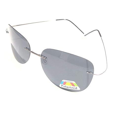 0a4aecaae1 SUMDA Men Titanium Lightweight Glasses Hingeless Rimless Polarized  Sunglasses (grey frame grey lens) - - Amazon.com