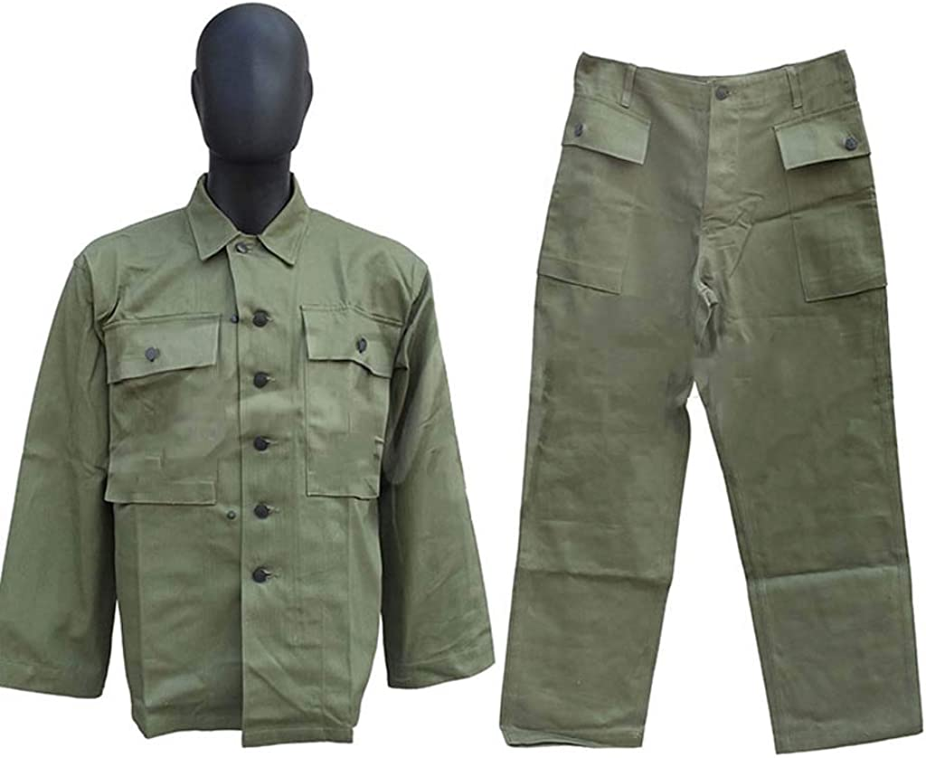 JXS Fuerzas de Tierra de Estados Unidos HBT WW2 Uniforme, pantalones-100 Chaqueta Retro Militares% Uniforme de Combate al Aire Libre, Caza y Pesca,L